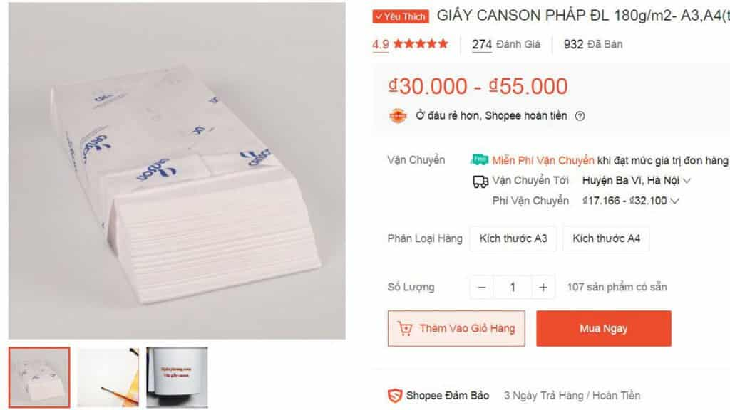 GIẤY CANSON A3