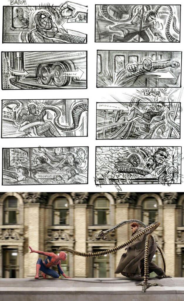 Spider-Man 2 (2004) - 25 STORYBOARD PHIM NỔI TIẾNG