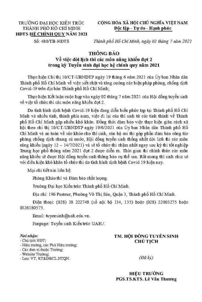 ĐẠI HỌC KIẾN TRÚC & ĐẠI HỌC MỸ THUẬT TPHCM DỜI LỊCH THI NĂNG KHIẾU 2