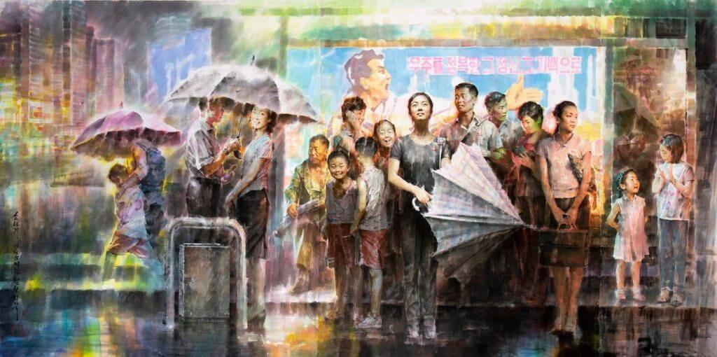 """Tranh """"Trú mưa ở trạm xe buýt"""" (2018)"""